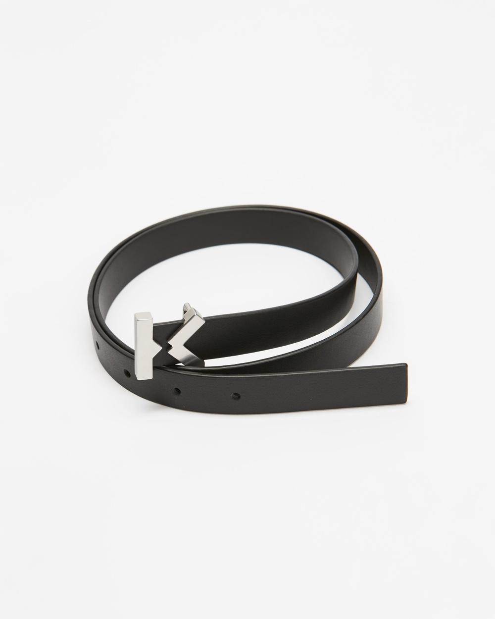 Kenzo K Narrow Leather Belt Belts Black