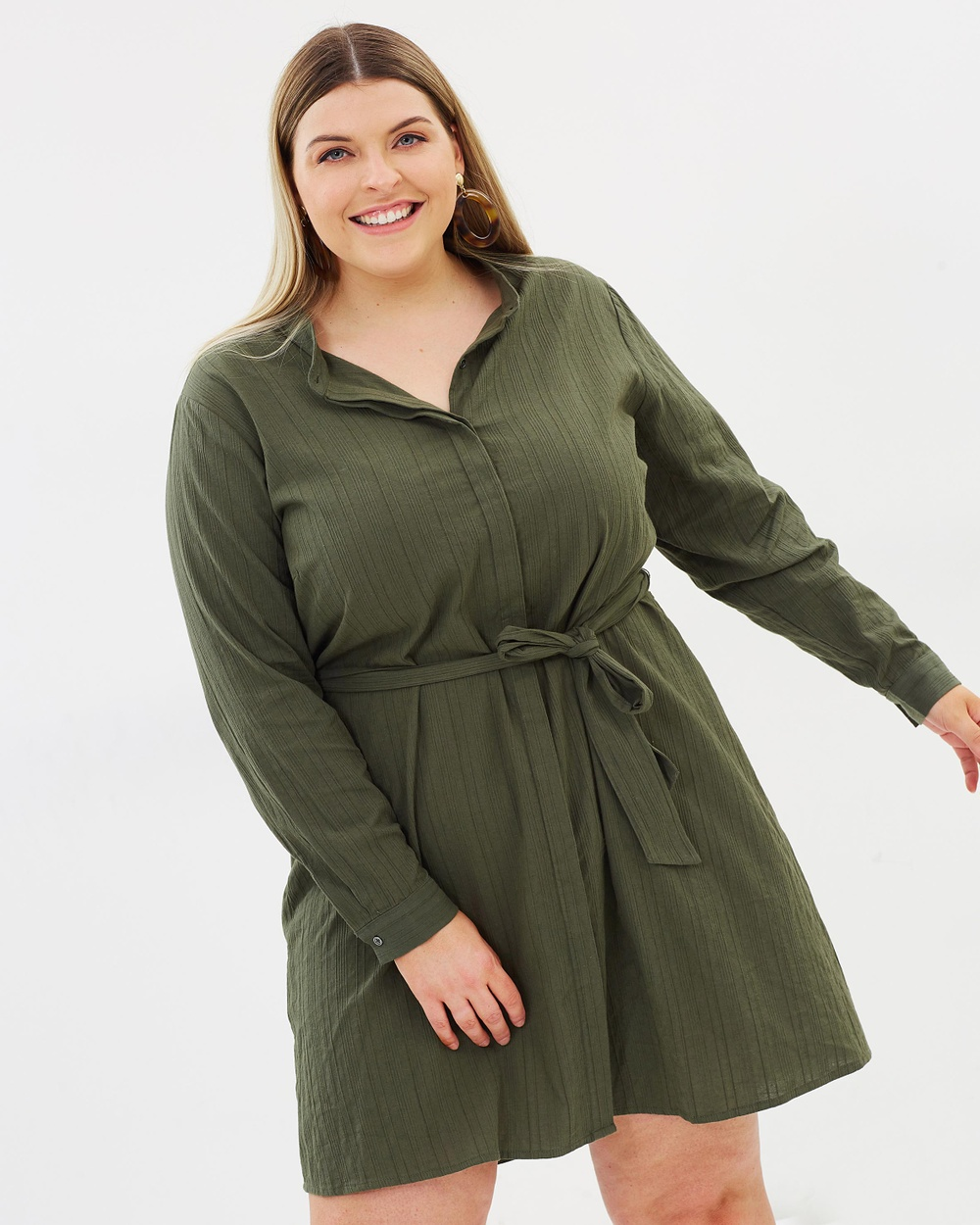 Atmos & Here Curvy ICONIC EXCLUSIVE Hazel Cotton Shirt Dress Dresses Khaki ICONIC EXCLUSIVE Hazel Cotton Shirt Dress