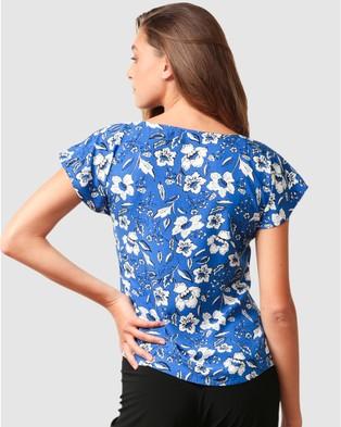 SACHA DRAKE Ephraim Top - Tops (Blue White Floral)