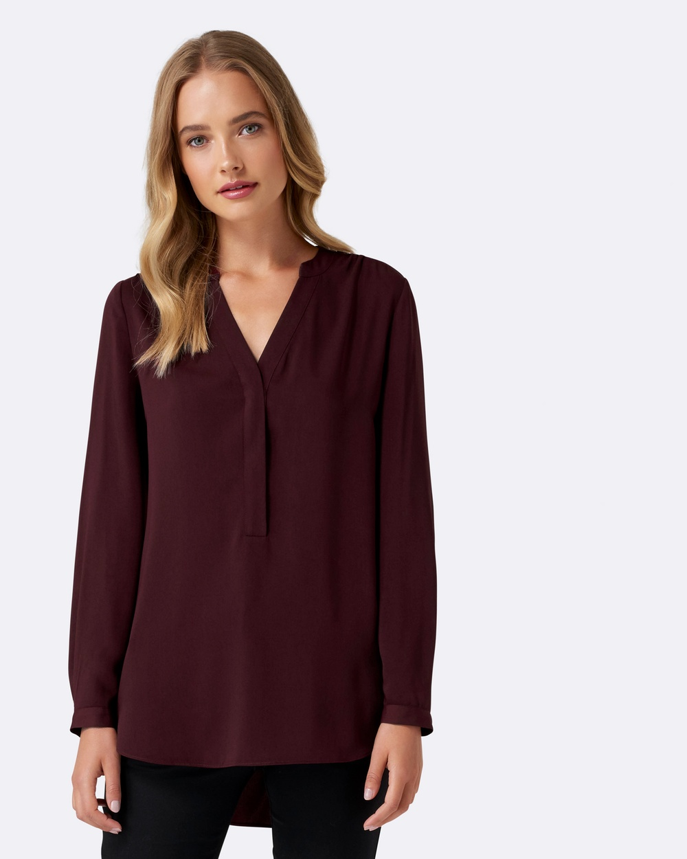 Forever New Heidi Gathered Shoulder Tunic Tops Cerise Plum Heidi Gathered Shoulder Tunic