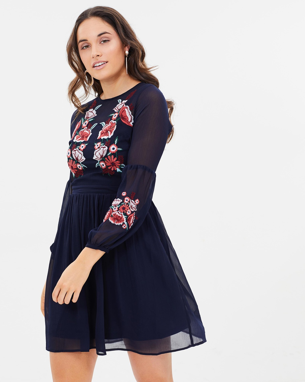 Dorothy Perkins Embroidered Chiffon Fit and Flare Dress Dresses Navy Blue Embroidered Chiffon Fit-and-Flare Dress