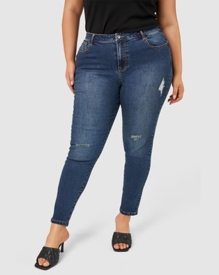 Pink Dusk Dirty Martini Ripped Jeans - Jeans (Navy)