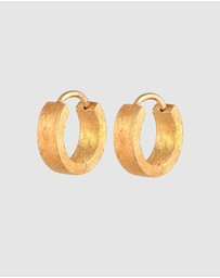 Kuzzoi - Earrings Creoles Brushed in 925 Sterling Silver Gold Plated