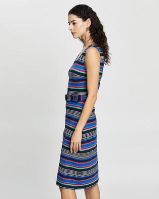 Review Sicily Stripe Jersey Dress - Bodycon Dresses (Navy Multi)