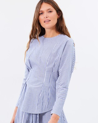 C & M Camilla and Marc – Simone Pleat Waist Shirt Blue & White Stripe