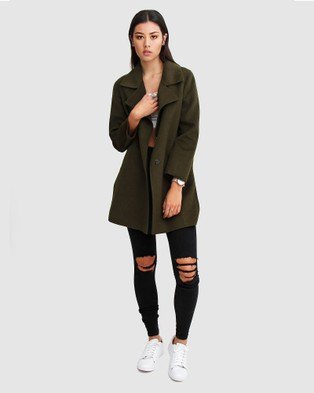 Belle & Bloom Ex Boyfriend Wool Blend Oversized Coat - Coats & Jackets (Khaki)