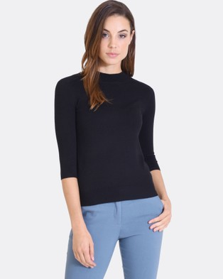 Forcast – Lili Mock Neck Knitted Sweater – Tops (Black)