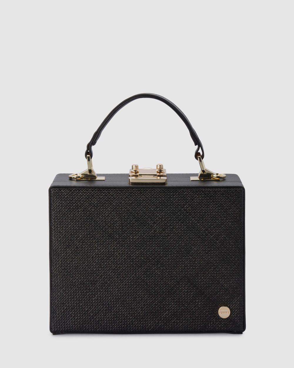 Olga Berg Georgia Straw Weave Top Handle Handbags Black Handbags Australia