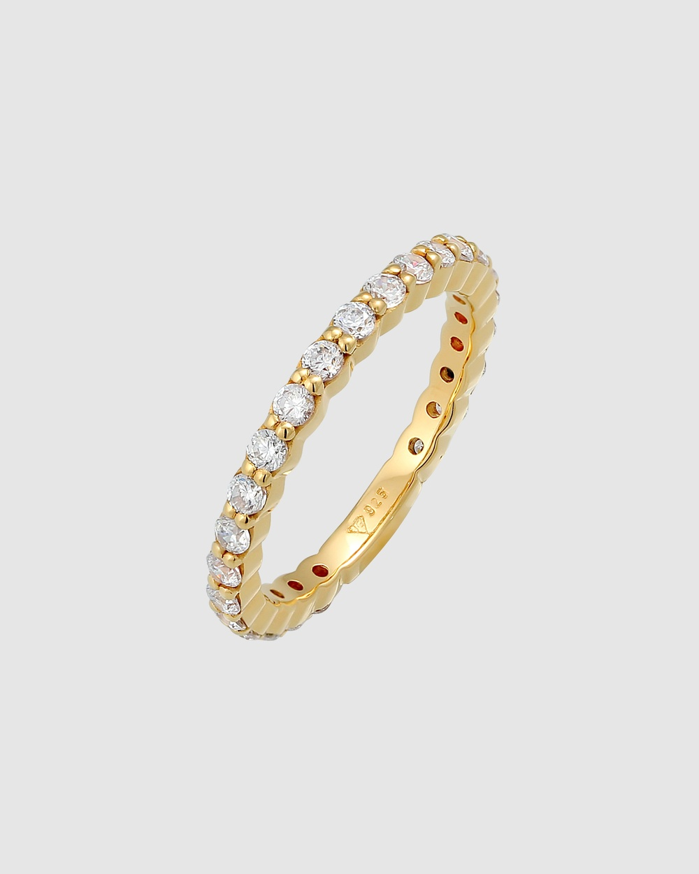 Elli Jewelry Ring Classic Sparkling Zirconia Crystals in 925 Sterling Silver Gold Plated Jewellery Gold