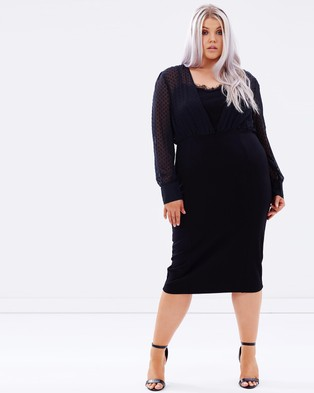 Lost Ink Plus – Dobby Top Pencil Dress – Dresses (Black)