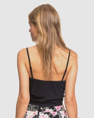 Roxy Womens Tiny Mutinies Strappy Tie Front Cropped Top - Cropped tops (Anthracite)