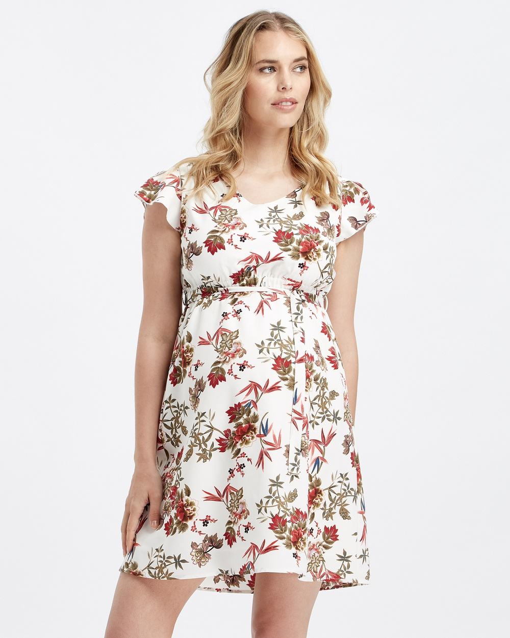 Glow Mama White Red Floral Rika Maternity Dress