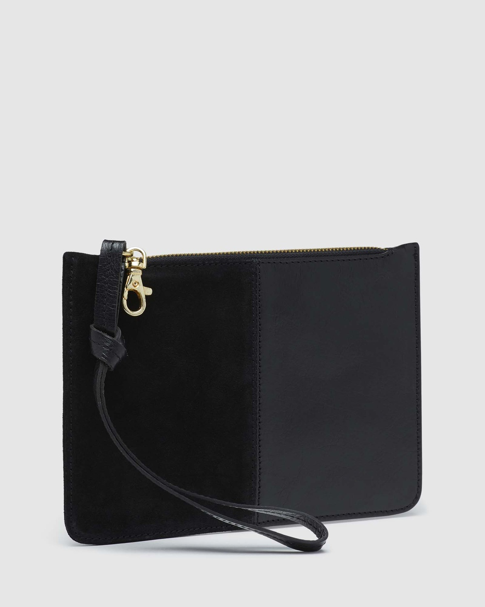 Oxford Adalynne Leather suede Wallet Clutches Black Leather-suede