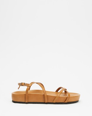 AERE Strappy Leather Footbed Sandals - Sandals (Tan Leather)