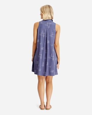 Bamboo Body Vera Sleeveless Shirt Dress - Dresses (Grid Print)