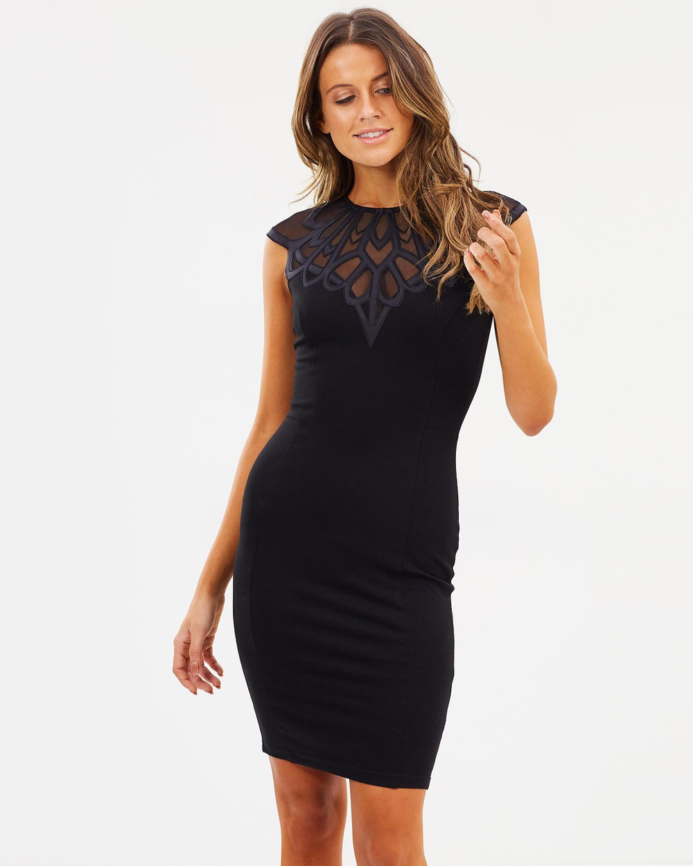 Lipsy Deco Yoke Body Con Dress Bodycon Dresses Black Deco Yoke Body-Con Dress
