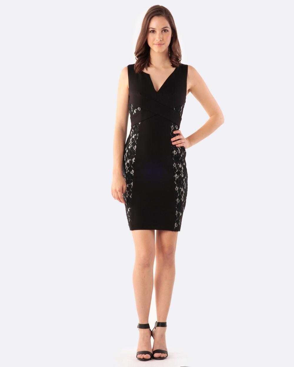 Amelius Cross Front Dress Dresses Black Cross Front Dress