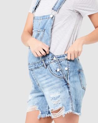 Ripe Maternity Denim Short Overalls - Jumpsuits & Playsuits (Pale Blue)