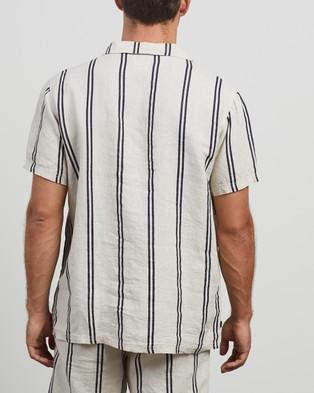 Stussy Stripe Linen Shirt - Casual shirts (Natural)
