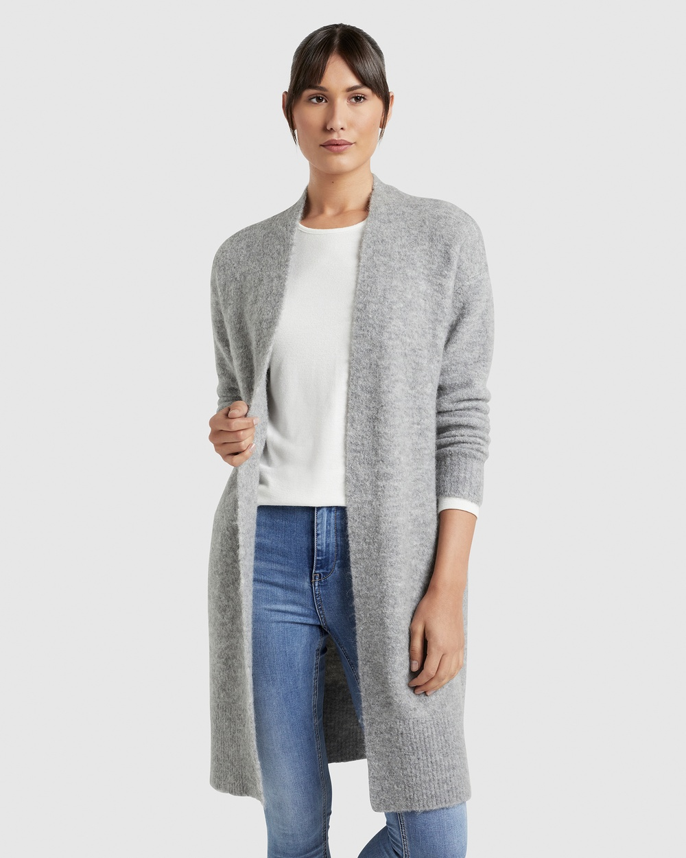 French Connection Relaxed Cosy Cardigan Jumpers & Cardigans GREY MARLE Australia