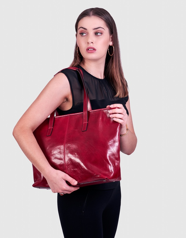 Women The Beatrice Red Leather Tote Laptop Bag