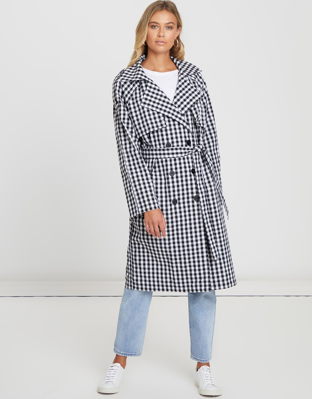 The Fated - Valentina Gingham Long Line Trench Coat