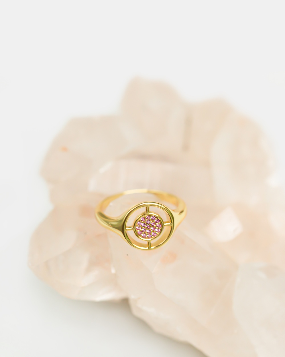 CA Jewellery Compass Ring Gold with Pink gold