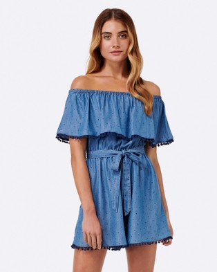 Forever New – Annabelle Pom Pom Tiered Playsuit Mid Blue Spot