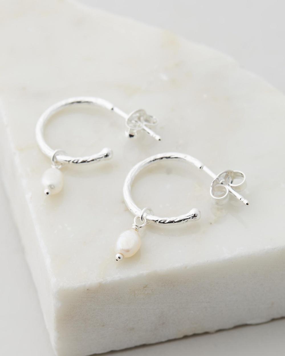 By Charlotte Eternal Peace Silver Hoop Earrings with Fresh Water Pearl Jewellery Sterling Silver