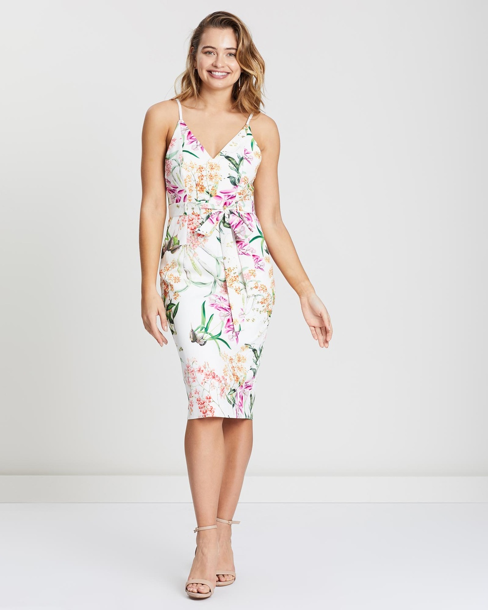 Honey and Beau White Print Kendal Tie Dress