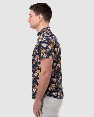 Brooksfield Hawaiian Print Short Sleeve Casual Shirt - Casual shirts (Navy)