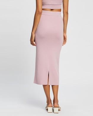 AERE Ribbed Midi Skirt - Skirts (Pink Lavender)