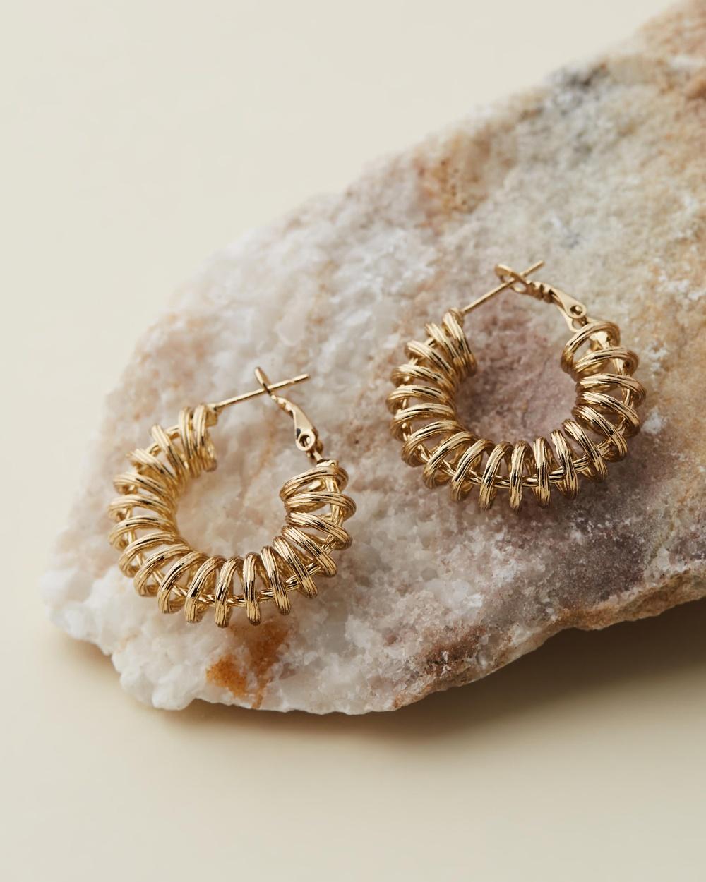 Reliquia Jewellery Spiral Gold Hoop Earrings Gold