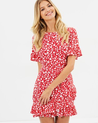 Atmos & Here – Love Me Ruffle Dress – Printed Dresses Red Stencil Floral