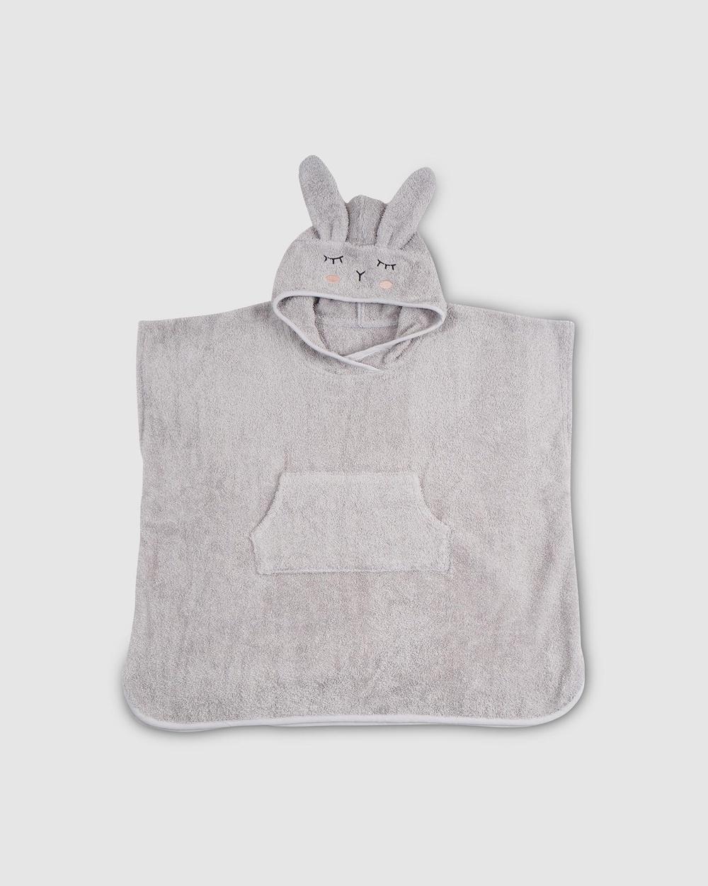 Kikadu Poncho Rabbit Towels Grey