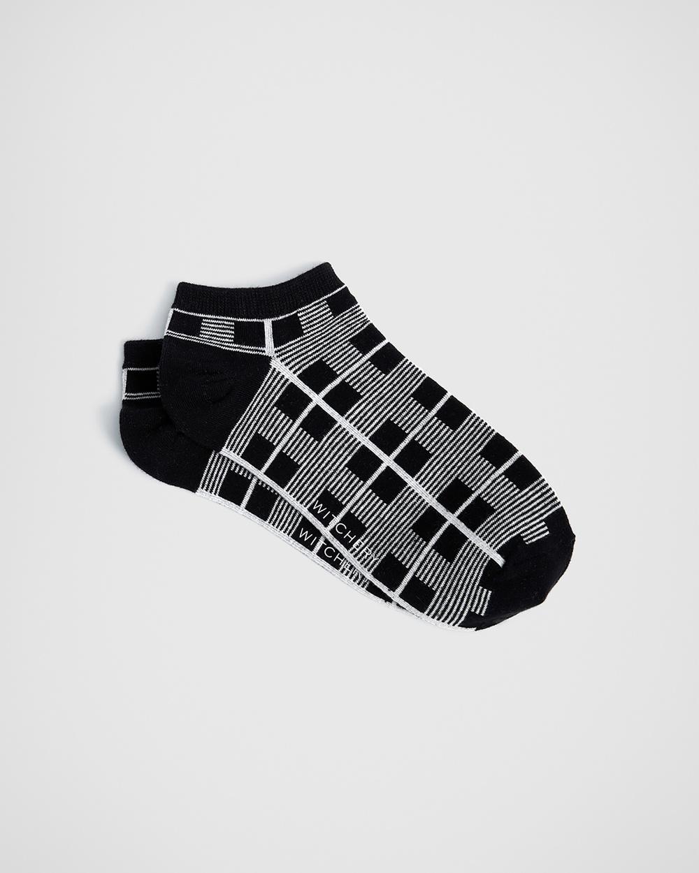 Witchery Check Sneaker Sock Ankle Socks black