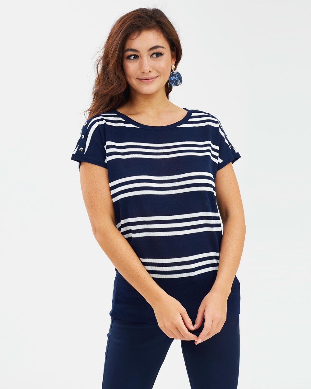 Wallis Short Sleeve Top Tops Navy Blue Short Sleeve Top