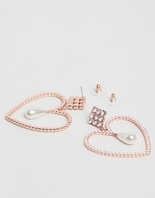 Women Mia Pearl Heart Earrings