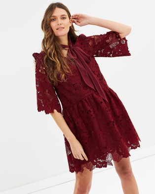 Perseverance – Floral Cut Out Lace Tie Neck Mini Dress Burgundy