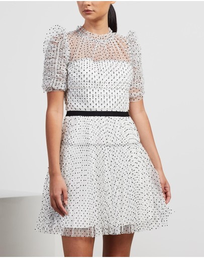 Self Portrait - Dot Mesh Pleated Skirt Mini Dress
