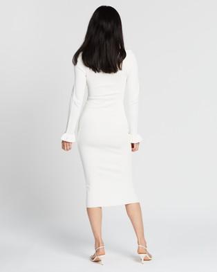 BY JOHNNY. - Frill Cuff Ribbed Midi Dress - Bodycon Dresses (White) Frill Cuff Ribbed Midi Dress
