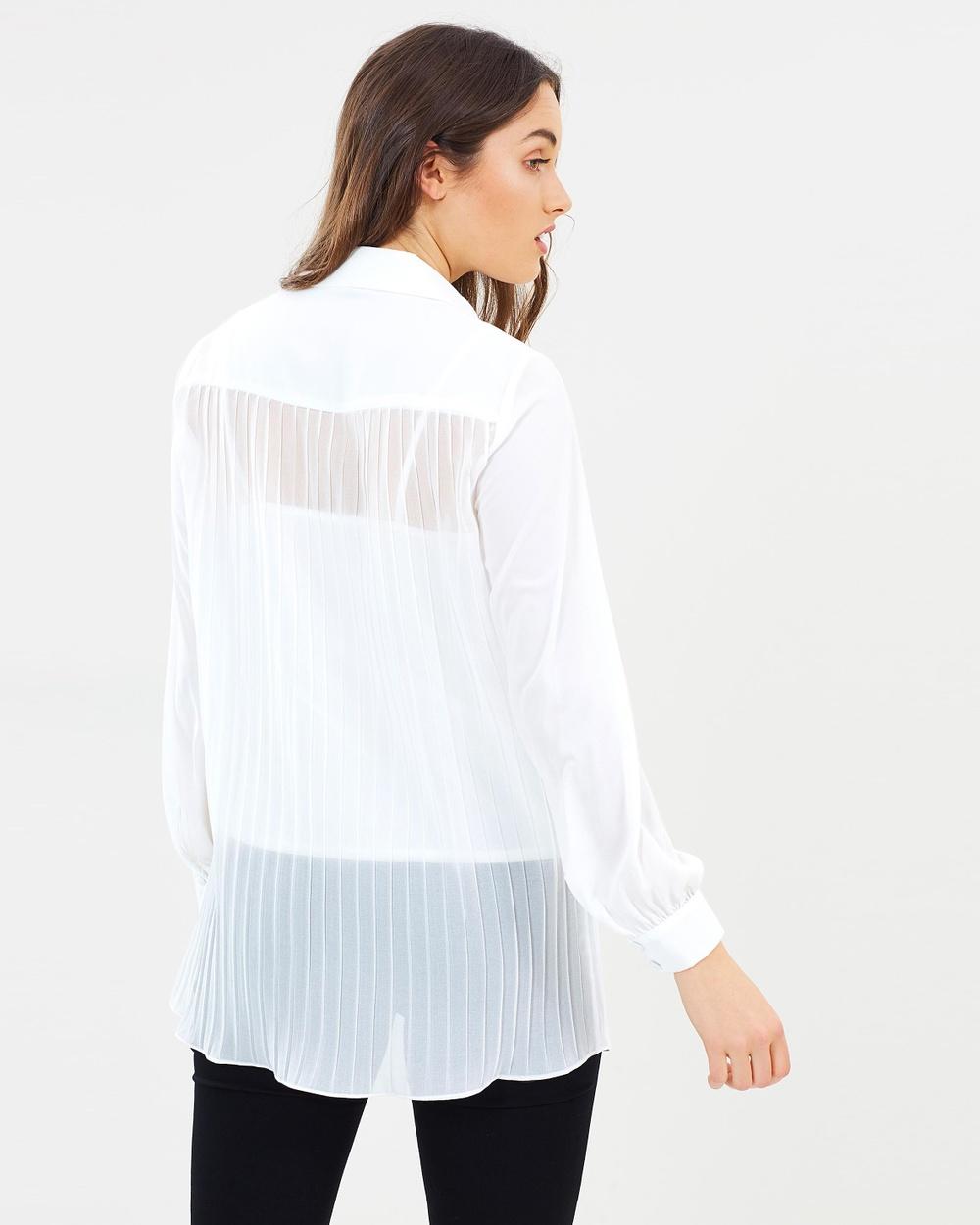 Wallis Back Pleat Shirt Tops White Back Pleat Shirt