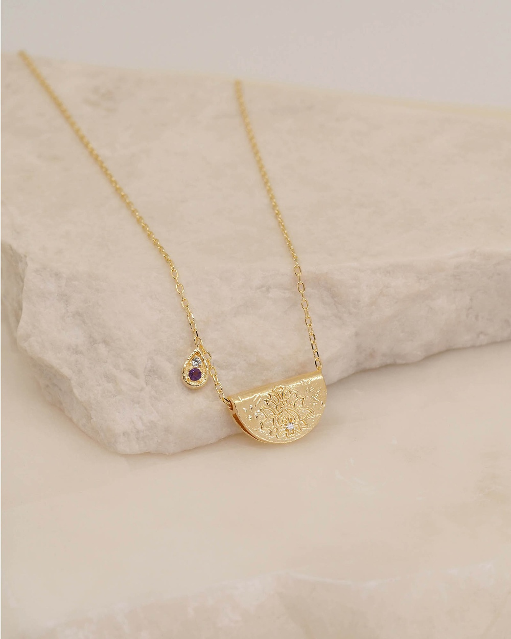 By Charlotte Awaken Your Senses Lotus Birthstone Necklace February Jewellery Gold