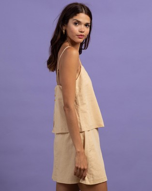 Nude Lucy Miles Linen Cami - Tops (Apricot)