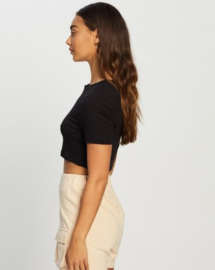 Missguided Cap Sleeve Crop Top - T-Shirts & Singlets (Black)