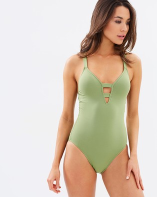 "Seafolly – Active Deep ""V"" Maillot – One-Piece / Swimsuit (Moss)"