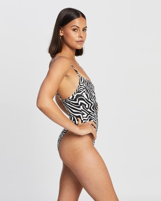 Endless Love Club Belted One Piece - One-Piece / Swimsuit (Zebra Print)