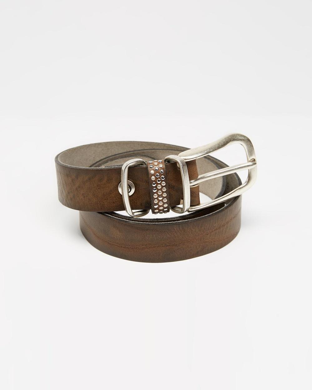 B.Belts Leather Belt With Studded Loop Belts 623