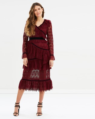 Perseverance – Dandelion Guipure Lace Multi Ruffles Midi Dress – Bridesmaid Dresses Burgundy