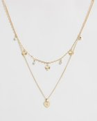 Heart Drop Multi-Row Necklace